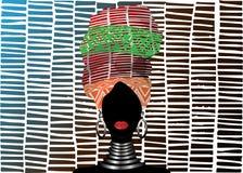 Afryka?ski szalik, portreta Afro kobieta w pasiastym turbanie Plemienna opakunek moda, Ankara, Kente, kitenge, Afrykańskie kobiet royalty ilustracja