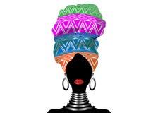 Afryka?ski szalik, portreta Afro kobieta w pasiastym turbanie Plemienna opakunek moda, Ankara, Kente, kitenge, Afrykańskie kobiet ilustracji