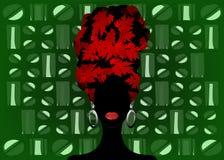Afrykański szalik, portreta Afro kobieta w pasiastym turbanie Plemienna opakunek moda, Ankara, Kente, kitenge Nigeryjskie styl su royalty ilustracja