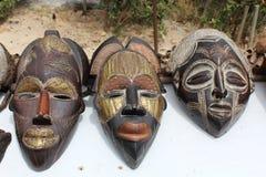 Afrykańskie drewno maski Fotografia Royalty Free