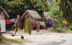 Afrykańskie malagasy budy w Maroantsetra regionie, Madagascar Fotografia Royalty Free