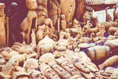 Afrykańskie maski, Maroko Prezenta sklep w Agadir Fotografia Stock