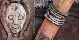 Afrykańskie Tradycyjne Etniczne i Tajemnicze Drewniane maski Obrazy Royalty Free