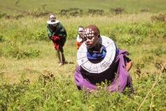Afryka Tanzania, Marzec, - 2016: Masai dzieci w szeroki savan Zdjęcia Stock