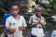 Afryka, Tanzania Zanzibar, Luty, - 2016: Chłopiec sprzedaje owoc Zdjęcie Stock