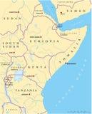 Afryka Wschodnia Polityczna mapa Obraz Stock