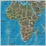 Afryka wyszczególniał mapę Zdjęcia Stock