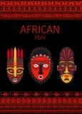 Afrykanin czerwieni stylowe granicy i maska royalty ilustracja