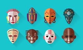 Afrykanin Maskowe ikony royalty ilustracja