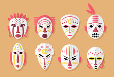 Afrykanin Maskowe ikony ilustracja wektor