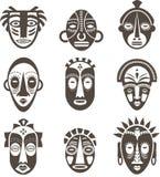 afrykanin odizolowywać maski nad setu wektoru biel ilustracja wektor