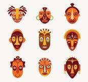 afrykanin odizolowywać maski nad setu wektoru biel ilustracji