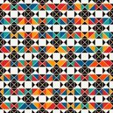 Afrykanin powierzchni stylowy bezszwowy wzór z abstrakcjonistycznymi postaciami Jaskrawy etniczny druk geometryczny tła ornamenta Zdjęcie Stock
