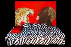 Afrykanin stylowa sypialnia Fotografia Royalty Free