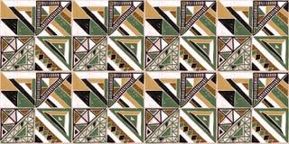 afrykanina bezszwowy deseniowy Etniczny ornament na dywanie Azteka styl Postaci plemienna broderia Indianin, meksykanin, ludu wzó ilustracji