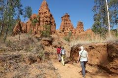 Afrykanów turyści i krajobraz Zdjęcia Stock