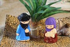 Afrykanina narodzenia jezusa stylowa scena z Świętą rodziną Fotografia Stock
