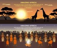 Afrykańscy ludzie sztandarów Ustawiających Zdjęcie Royalty Free