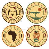 Afrykańska etniczna kultura, zwierzęta i natura, Obrazy Stock