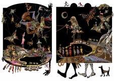 Afrykańska ilustracja, ludzie, cieki i zwierzęta, egzot Zdjęcia Royalty Free