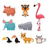 Afrykańska zwierzę zabawy kreskówki klamerki kolekcja sztuki Zdjęcia Stock