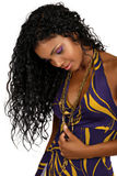afrykański piękny kędzierzawy włosy tęsk kobieta Obraz Royalty Free