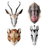 Afrykańskie zwierzęce ikony, wektorowy ikona set Abstrakcjonistyczny trójgraniasty styl Fotografia Stock