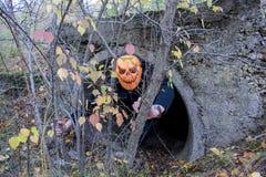 Afschuwelijk schepsel in het de herfstbos in de avond Gelukkig Halloween Pumpkinhead stock foto