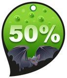 Afschuwelijke Halloween-kortingsverkoop Coupon 50 van het kortingspercenten consumentisme knuppel Stock Afbeeldingen