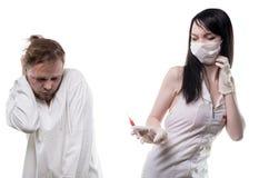 Afschuwverpleegster en zieke patiënt Royalty-vrije Stock Fotografie