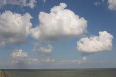 Afsluitdijk holland dams on the North Sea. Holland dams on the North Sea land and sea Royalty Free Stock Photo