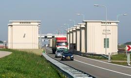 Afsluitdijk jest ważnym droga na grobli w holandiach Obraz Royalty Free