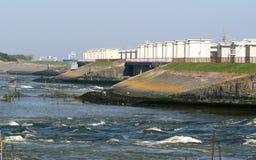 Afsluitdijk jest ważnym droga na grobli w holandiach Zdjęcie Royalty Free