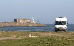 Afsluitdijk jest ważnym droga na grobli w holandiach Obraz Stock