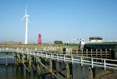 Afsluitdijk jest ważnym droga na grobli w holandiach Fotografia Stock