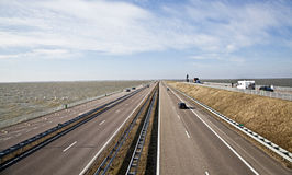 Afsluitdijk - major causeway in Netherlands Royalty Free Stock Photo
