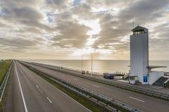 Afsluitdijk z wschodem słońca Obrazy Stock