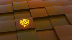 Afsmeltingssymbool die over willekeurig het nadenken oranje kubusla drijven Royalty-vrije Stock Afbeelding