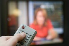 Afstandsbediening met TV Royalty-vrije Stock Foto