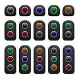 Afstandsbedieningcomités met Één, Twee Drie Kleurenknopen die worden geplaatst Vector Stock Afbeelding