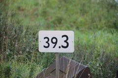 Afstandsteken in kilometers langs de spoorweg in Moordrecht, T Stock Foto's