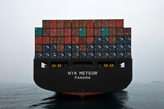 Aft container ship NYK Meteor standing on the roads. . Nakhodka Bay. East (Japan) Sea. 09.04.2014 Stock Photos