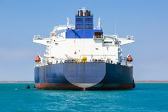 Aft of the crude oil tanker. Aft of the crude oil tanker at anchor Stock Photography