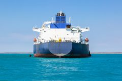 Aft of the crude oil tanker at anchor. Royalty Free Stock Photography