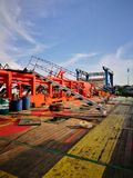 Aft deck view during evening. Ship deck at drydock during evening when all shipyard worker resting Royalty Free Stock Image