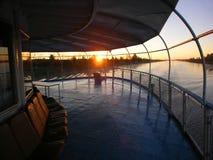 Aft end ship. Sunrise Royalty Free Stock Image