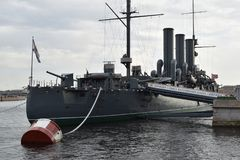 The aft gun Aurora. The first rank cruiser Aurora is the ship number one in the Russian Navy Royalty Free Stock Photography