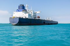 Aft part of the oil product tanker. Aft part of the oil tanker at anchor Stock Photography