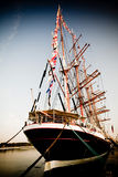 Aft of vessel. Aft of the tall ship in port old film look Royalty Free Stock Photo