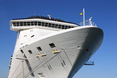 Aft of white cruise ship. Aft of big vessel against clear blue sky Stock Photo